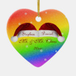 Santa Hats and Rainbows Double-Sided Heart Ceramic Christmas Ornament