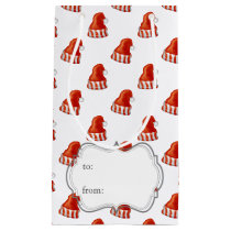 santa hats christmas pattern small gift bag