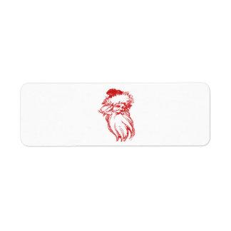 Santa Head Distressed Faux Letterpress Style Label