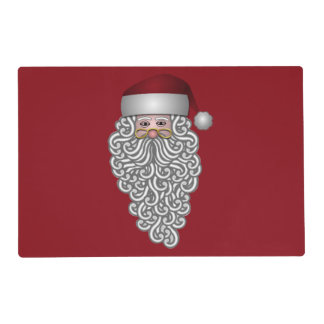 Santa Head with Curly Beard Red Laminated Placemat