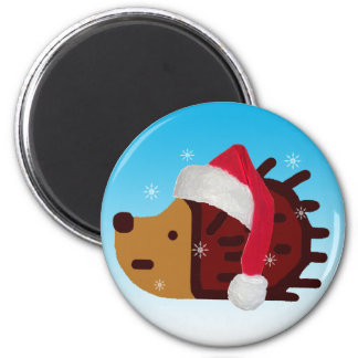 Santa Hedgehog in the Snow! 2 Inch Round Magnet