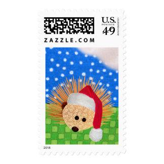 Santa Hedgehog Postage Stamp