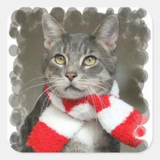 Santa Helper Cat Sticker