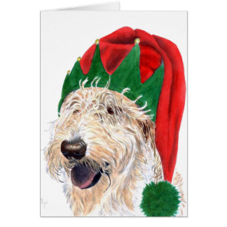 Santa Helper Labradoodle Greeting Cards