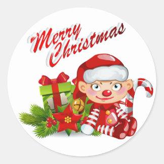 Santa Helper Round Sticker, Glossy Classic Round Sticker
