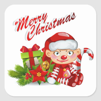 Santa Helper Square Stickers, Glossy Square Sticker