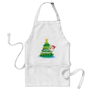 Santa hiding at the back of the christmas tree adult apron