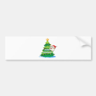 Santa hiding at the back of the christmas tree bumper sticker