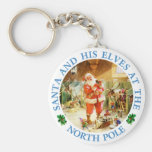 Santa & His Elves At His North Pole Stables Keychain