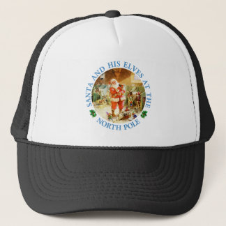 Santa & His Elves At His North Pole Stables Trucker Hat