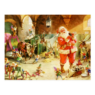 Santa & His Elves in the North Pole Stables Postcard