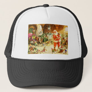 Santa & His Elves in the North Pole Stables Trucker Hat