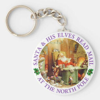 Santa & His Elves Make a List and Check It Twice Keychain