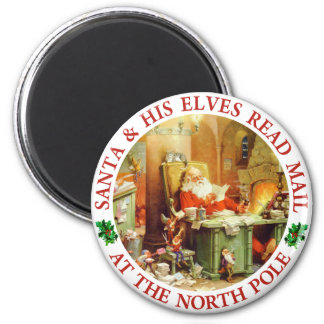 Santa & His Elves Make a List and Check It Twice Refrigerator Magnets