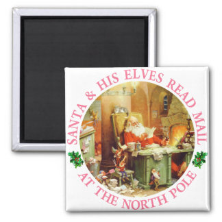Santa & His Elves Make A List and Check It Twice Fridge Magnet