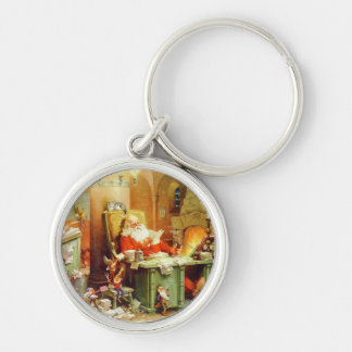 Santa & His Elves Making a List, Checking it Twice Keychain