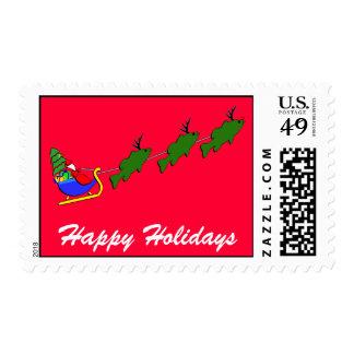 Santa & his Largemouth Bass - funny Stamps