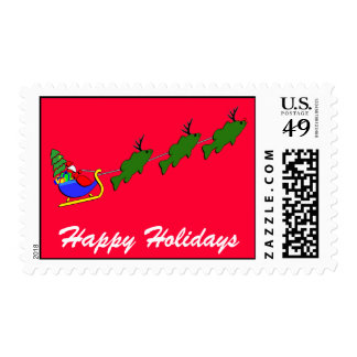 Santa & his Largemouth Bass - funny Postage Stamps
