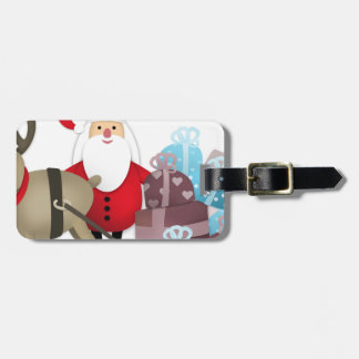Santa & His Reindeer with Gifts Luggage Tag
