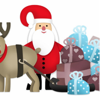 Santa & His Reindeer with Gifts Statuette
