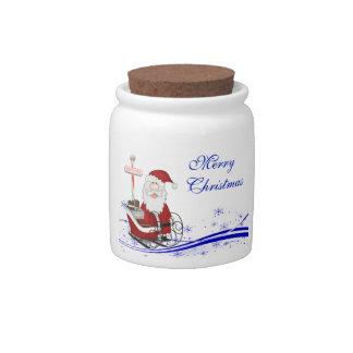 Santa & His Sleigh Christmas Candy Jar