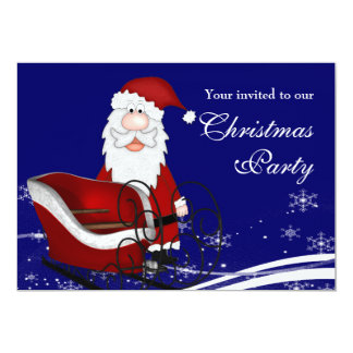 Santa & His Sleigh Christmas Party Card