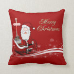 Santa & His Sleigh Christmas Throw Pillow