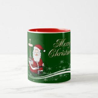 Santa & His Sleigh Christmas Two-Tone Coffee Mug