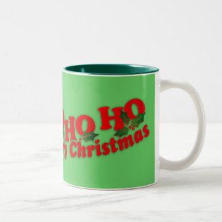 """Santa """"Ho Ho Ho Merry Christmas"""" green mug"""