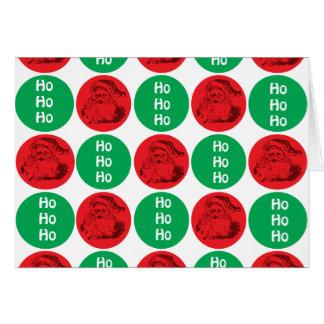 Santa Ho Ho Ho Red Green Circles Polka Dots Card