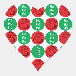 Santa Ho Ho Ho Red Green Circles Polka Dots Heart Sticker