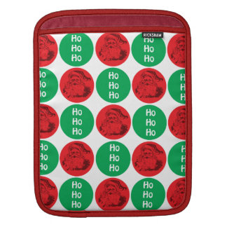 Santa Ho Ho Ho Red Green Circles Polka Dots iPad Sleeves