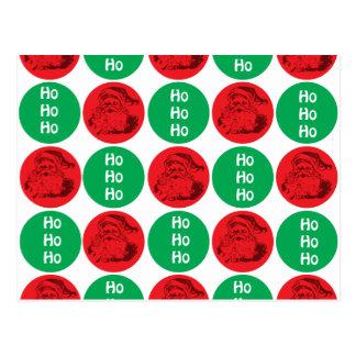 Santa Ho Ho Ho Red Green Circles Polka Dots Postcard