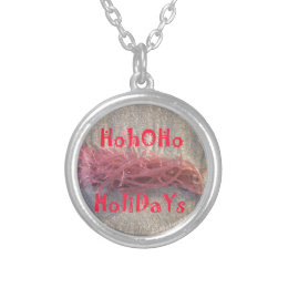 Santa HoHoHo Merry Christmas From Beach colors Silver Plated Necklace