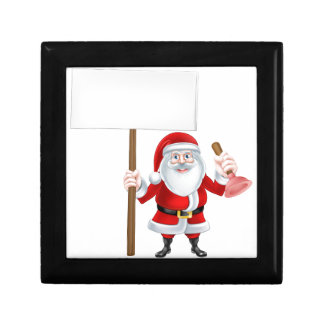 Santa Holding Plunger Sign Jewelry Box