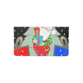 santa holding presents checkbook cover