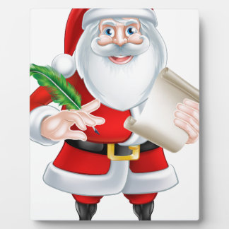 Santa Holding Scroll and Quill Plaque