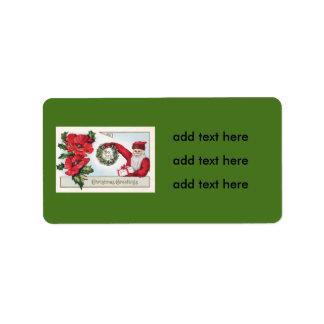 Santa Holly Wreath Poinsettia Present Dec 25th Label