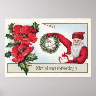 Santa Holly Wreath Poinsettia Present Dec 25th Poster