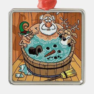 Santa Hot Tub Christmas Tree Ornament