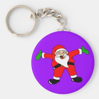 Santa Hug on Purple Background Keychain