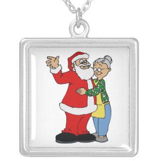 santa hugging mrs claus square pendant necklace