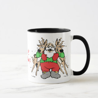 Santa Hugging Reindeer Funny Cartoon Christmas Mug