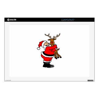 Santa Hugging Reindeer Decals For Laptops