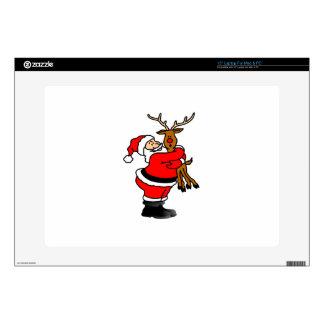 Santa Hugging Reindeer Laptop Decal