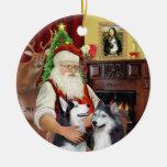 Santa - huskyes siberianos (DOS) Ornamento De Navidad