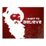 Santa - I want to believe (white on red grunge) Post Cards