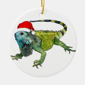 Santa Iguana Ceramic Ornament