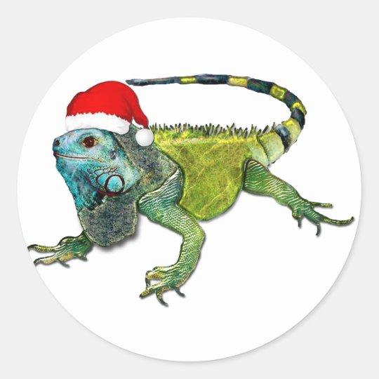 Santa Iguana Classic Round Sticker