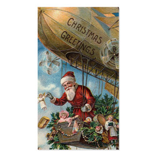 """Santa in a Blimp"" Gift Tag Double-Sided Standard Business Cards (Pack Of 100)"